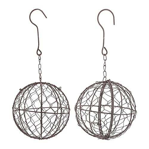 WEI-LUONG Ganchos de Percha de la Forma de la Guirnalda del Alambre de Metal en Forma de Bola para suculenta, Paquete de 2, 13 cm y 28 cm