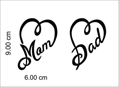 ISEE 360® Mom Dad Bike Stickers for Scooter Fascino and Activa and Royal Enfield Classic 350 500 Standard Black,L x H (9.00 cm x6.00 cm) Pack of 2