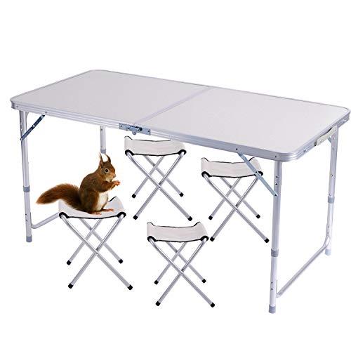 Sunflo - Mesa plegable portátil de 1,2 m de altura ajustable para acampar, portátil, para interiores y exteriores, mesa de picnic y barbacoa con asa, 4FT+4chairs