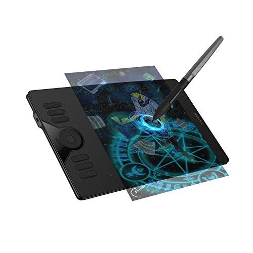 HUION HS610 Grafiktablett, 10 X 6,25-Zoll Grafiktablett mit Touch-Ring und 12+16 Benutzerdefinierten Drucktasten, Batterieloser Stift mit Neigefunktion, Kompatibel mit PC und Android-Gerät