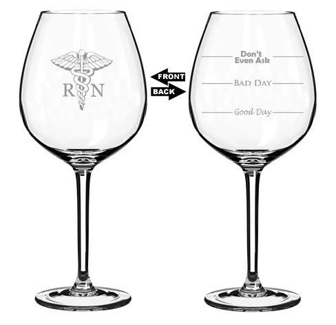 20 oz Jumbo Wine Glass Funny Two Sided Good Day Bad Day Don
