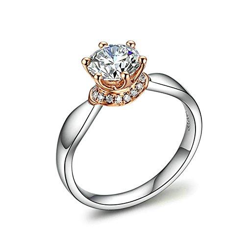 DOLOVE Anello da donna in oro bianco con diamanti da 1 ct (SI, D-E), anello anniversario 1 carati, misura H 1/2-T 1/2 e Oro bianco, 19, colore: Argento, cod. LMY90GZZBRST096
