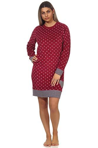 NORMANN-Wäschefabrik Damen Frottee Nachthemd mit Bündchen in Tupfen - Optik - auch in Übergrössen - 202 213 200, Farbe:Tupfen rot, Größe:44/46
