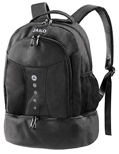 schwarzer Rucksack mit Akzenten in Silber, Striker von Jako - Das Platzwunder ist der ideale Wanderrucksack, Schultasche oder Aktentasche - Dieser Freizeitrucksack passt Immer