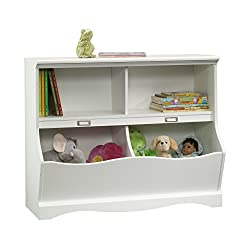 playroom toy shelf storing books and stuffed animals