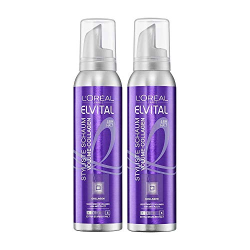 L'Oréal Paris Elvital Styliste Schaumfestiger, XXL-Volumen und Anti-Platt-Effekt, Ultra-starker Halt, Ohne Parabene, Schaumfestiger Volume-Collagen, 2 x 150ml