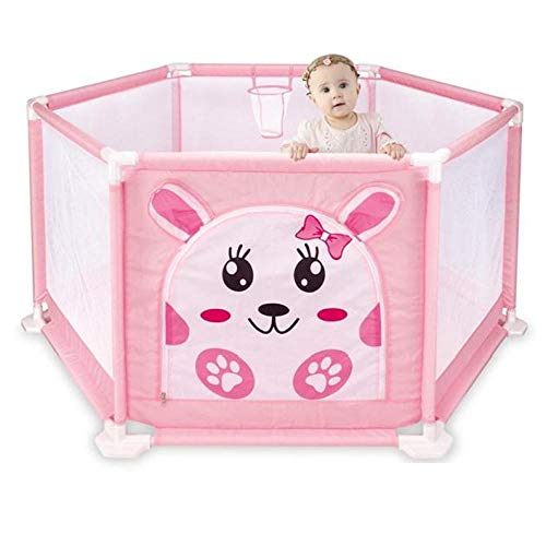 unknow 22 sq ft Pink Play Pens for Toddlers with Breathable Mesh,6 Panel Ball Games for Kids for 2-6 Ages