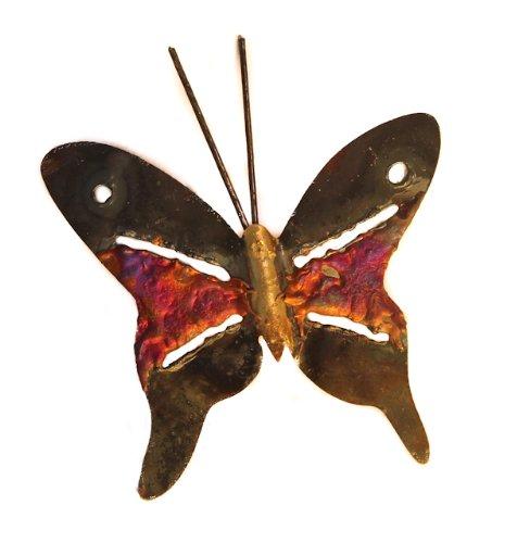 Mariposa multicolor metal reciclado colgante de pared 10 cm de ancho – comercio justo y hecho a...