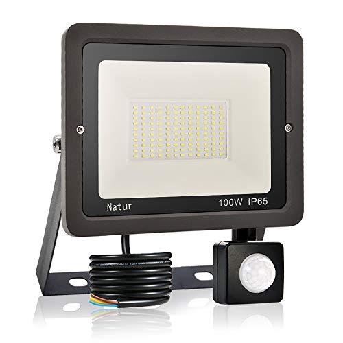100W LED Foco Exterior con Sensor Movimiento, bapro Proyector LED Impermeable IP65 Floodlight LED Foco Blanco Frío 6000K Exterior Iluminación para Patio, Almacén, Camino, Jardín