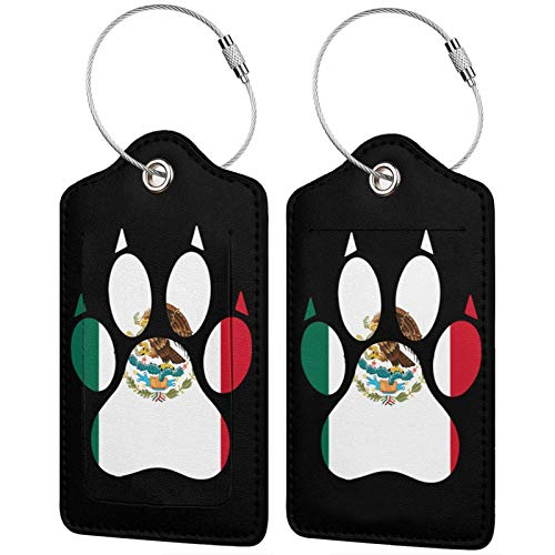 Mexico Flag Dog Paw PU Leather Baggage Tags Rectangle with Privacy Cover Set of 1/2/4 Pcs