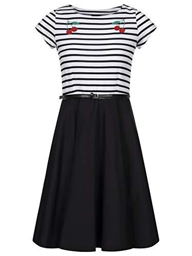 Pussy Deluxe Revival Pettycoat Kleid schwarz/weiß, Größe:S
