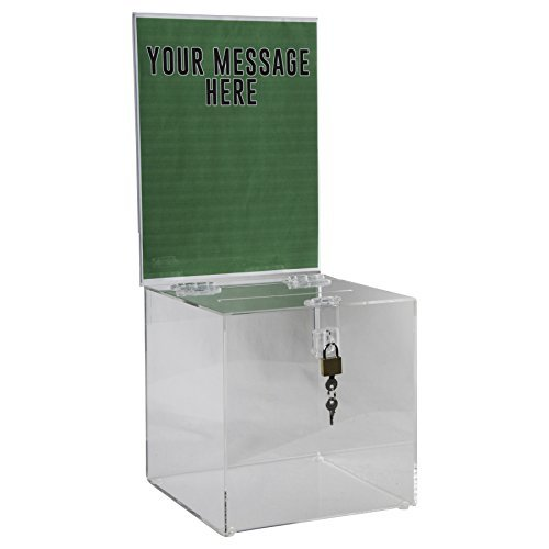 Clear-Ad - Acrylic Donation, Ballot, Raffle or Suggestion Box with Lock and Removable Sign Holder - Plastic Comment or Compaint Container - Plexiglass Multipurpose Box with Slot - Clear (8x8)