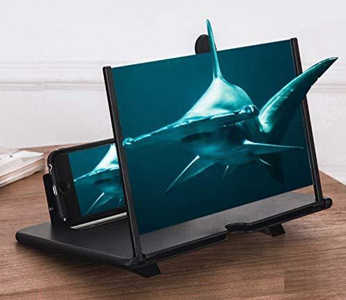 Eastor 3D-Telefon-Bildschirmverstärker, Bildschirmlupe, 30,5 cm, Bildschirmlupe, Handy, 3D-Vergrößerung, Projektorbildschirm für Filme, Videos, und Gaming – 4-fache Vergrößerung (schwarz)
