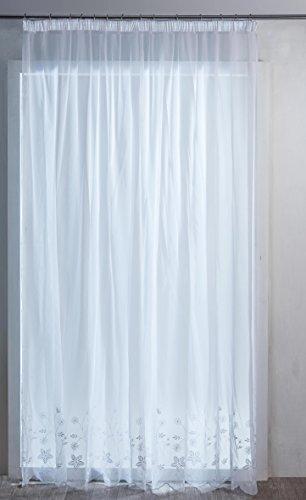 HomeMaison Biarritz Voilage à Galon fronceur, Polyester, Blanc, 240x240 cm