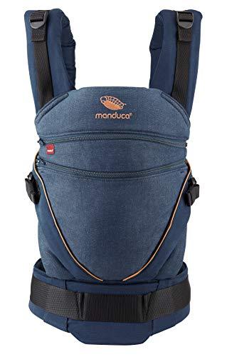 manduca XT Porte-Bebe/Baby Carrier > Tout-En-Un < Siège Réglable en Continu, Coton Bio, 3 Positions de Portage, pour Nouveau-Nés & Bébés de 3,5-20 kg (XT Cotton, denimblue - toffee)