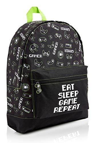 CityComfort School Bag for Boys and Teenagers, Camouflage and Gaming...