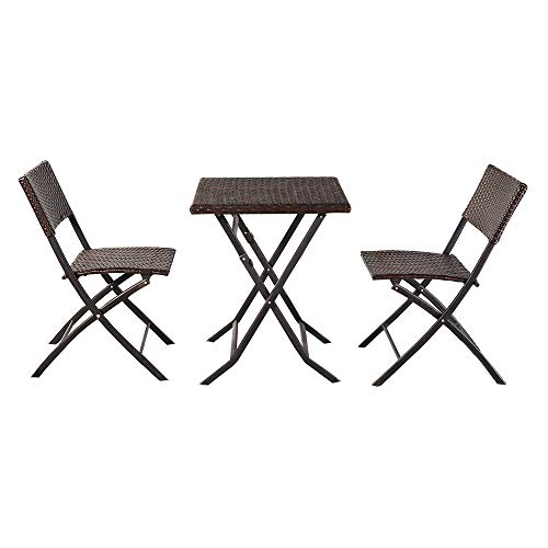 Outdoor Chairs Patio Furniture Oshion Folding Rattan Chair Three-Piece Square Table-Brown,Bistro Table Set, Deck Furniture U.S