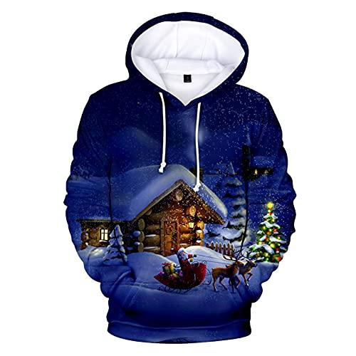 Loiy Maglione natalizio da uomo e da donna, a maniche lunghe, con cappuccio, Blu #3, L