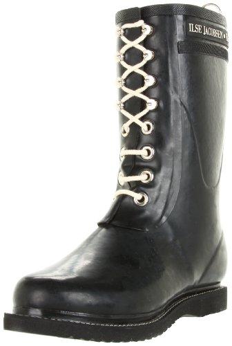 ILSE JACOBSEN HORNBÆK | Halbhohe Damen Gummistiefel aus Natur Bio Gummi | Wasserdicht | PVC Frei | 3/4 Lange Stiefel mit Schnürsenkel aus Baumwolle | RUB15 | Schwarz 40 EU