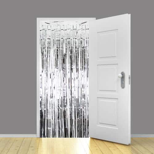 KRAFTZ - Tinsel Shimmer Door Curtain 3ft x 8ft - Silver
