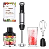 Slaouwo Hand Blender 4-in-1 Hand Immersion Blenders, Electric Hand Stick Blender with Beaker
