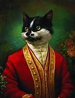 ヴィンテージアートキャンバスプリントポスター、漫画の肖像画枢機卿猫現代家族の寝室の装飾ポスター、キャンバスアートポスターとリビングルームの壁アート画像フレームなし-C_60X80Cm