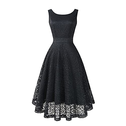 Womens A-line Party Dresses, Pure Color lace Floral Stitching Sleeveless Slim Waist Large Ruffled Hem Dress