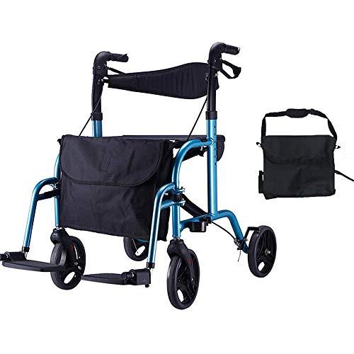 PAP Drive Medical Folding Mobility Rollator met stoelrugleuning en zadeltas, blauw, blauw, a