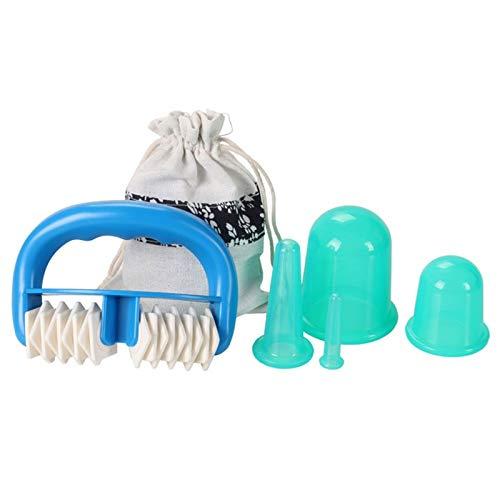 Juego de 5 piezas de silicona para masaje facial, masajeador de cuerpo al vacío, tazas de terapia de celulitis, ventosas faciales, kit de ayuda para el cuerpo
