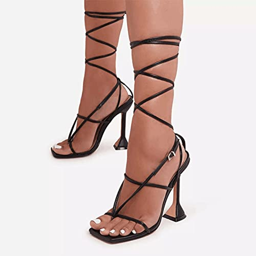 YHCS Femmes Sandales Sexy Summer Chaussures Gladiator Clip Toe High High Talons Bandage Boucle Boucle Pumelles Squre Toe Dames Fête Fête Stiletto