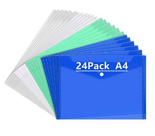 Mutsitaz- Cartelline portadocumenti in plastica, con apertura a busta e bottone, formato A4, 24 pezzi, in 4 colorazioni: trasparente, bianco, verde e blu