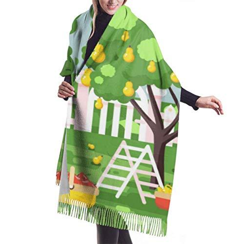 Schal mit Fransen, Wandteppich, Decke, Kleiderzubehör, Cartoon Harvesting Reife Frucht Vektor Premium Warm Shawl Wrap