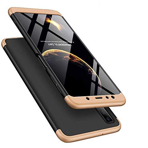 LEECOCO Samsung Galaxy A50 Case Ultra Thin 3 in 1 360 Degree Full Body Case Premium Slim Shockproof Hard PC Plastic Anti-Scratch Bumper Cover for Samsung Galaxy A50 3 in 1 Black Gold AR