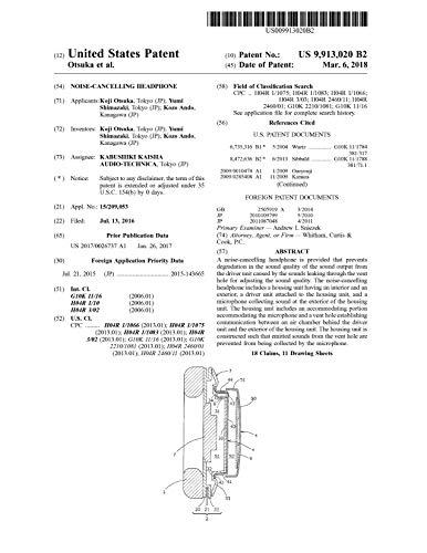 Noise-cancelling headphone: United States Patent 9913020 (English Edition)