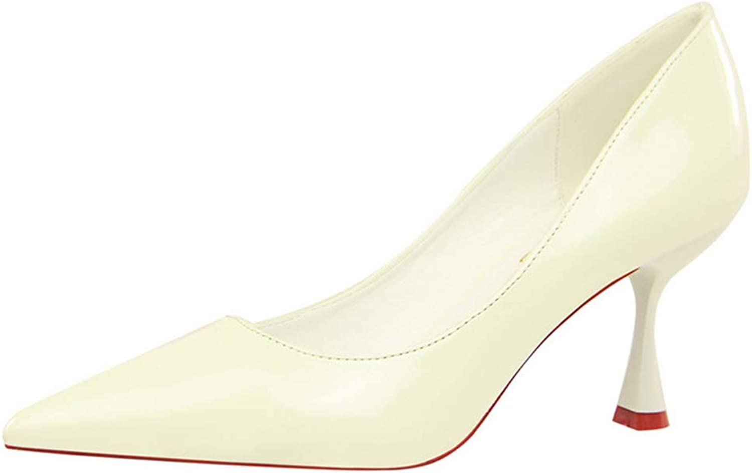 Owen Moll Women Pumps, Fashion Patent Leather High Heels Pointed Toe OL shoes 2.95 Inch