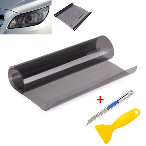 2PCS 12 by 48 inches Self Adhesive Car Light Sticker, Smoke Fog Light Taillight Headlight Tint Chameleon, Vinyl Film Sheet with Squeegee + Cutter (Light Black)