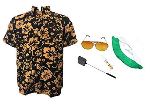 thecostumebase Fear & Loathing Las Vegas Shirt Hat Orange Glasses Cigarette Holder Swatter Duke (L), Mix
