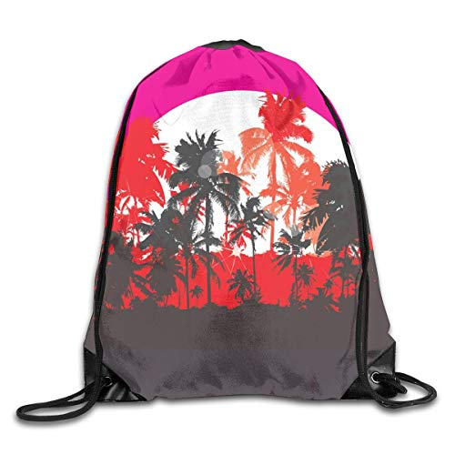 LREFON Mochila con cordón para gimnasio, mochila con árbol tropical, mochila para almacenamiento de viaje, organizador de zapatos, hombro escolar, compras para adultos