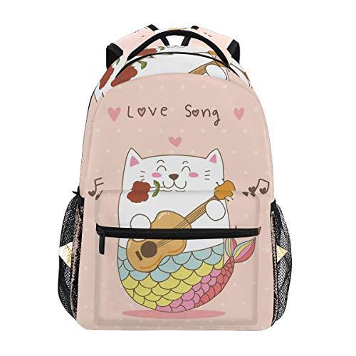 Meerjungfrau Katze Gitarre Liebeslied Schulter Student Rucksacks Bookbags Kinderrucksack Büchertasche Rucksäcke für Teen Mädchen Jungs