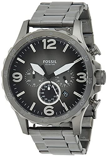 Fossil Men's Nate Quartz Stainless Steel Chronograph Watch, Color: Smoke (Model: JR1437)
