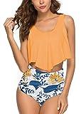 Womens Flounce High Waisted Two Piece Beach Halter Print Bikini Bathing Swimsuits Tummy Controlled Yellow L