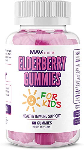 MAV Nutrition Elderberry Gummies Immune System Booster for Kids Vitamins with Vitamin C + Zinc Supplement + Echinacea, Non-GMO, Vegetarian Friendly, 60 Count