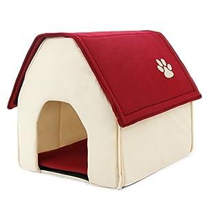 panier niche lit chien panier lit mousse chat avec toît et coussin amovible maison villa chaud et confortable pour chiot/chaton de taille moyenne et petite