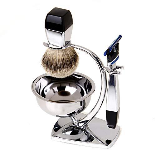 Ensemble de cadeau de rasage pour les hommes,kit de rasoir manuel de sûreté avec le stand lourd et le bol de savon et le blaireau de rasage brosse à cheveux de jour de Thanksgiving cadeau pour le père