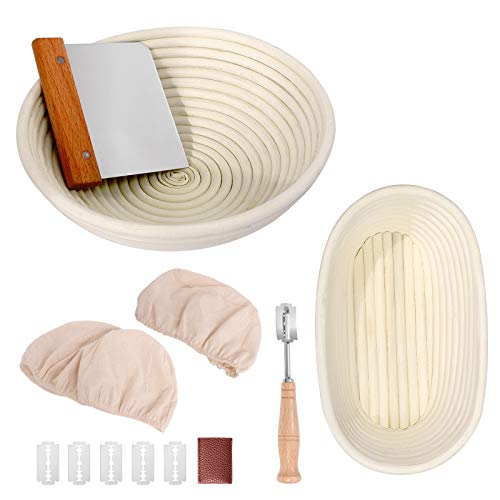 Bread Proofing Basket Set 9.6 Inch Oval and 10 Inch Round Natural Rattan Proofing Baskets with Bread Lame and Dough Scraper and Linen Liner Bread Making Tools for Professional and Home Bakers