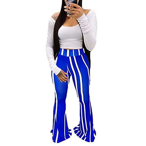 WJANYHN Pantalones con Estampado de Cuadros clásicos para Mujer Pantalones Acampanados de Mujer Casual
