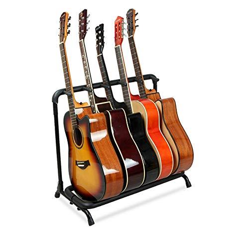 YUSDP Soporte portátil para Guitarra múltiple, 5 Soportes, Estante de exhibición Plegable - Tubo de Neopreno para protección sin Relleno de Goma Antideslizante para Estudios de grabación, escuelas