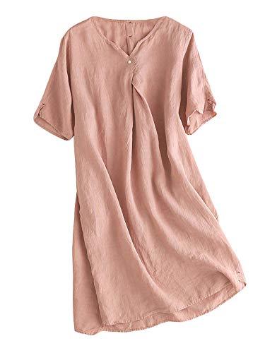 Mallimoda Damen Sommerkleid Leinenkleider V-Ausschnitt Kurzarm Midi Kleid Lange Tunika Bluse Rosa XL