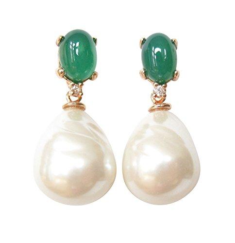 Groene oorstekers oorbellen steen smaragd-kleuren wit barokglas parel sterling zilver verguld rood-verguld 18 karaat handwerk Italië