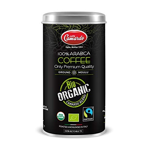 CAFFÈ CAMARDO BIO PARA MOKA - ARABICA BIO ORGANIC - Café Molido orgánico certificado por USDA TOSTADO MEDIO - Lata de 250 g que ahorra frescura
